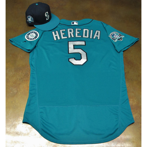 Photo of Guillermo Heredia Green Game-Used Jersey & Cap With Edgar Martinez Patch Worn 8-11-2017
