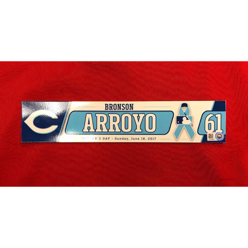 Photo of Bronson Arroyo -- Team-Issued Locker Tag --  Final Game of Arroyo's 16-Year Major League Career -- Arroyos Final Major League Season -- Father's Day Locker Tag-From Reds vs. Dodgers on June 18, 2017