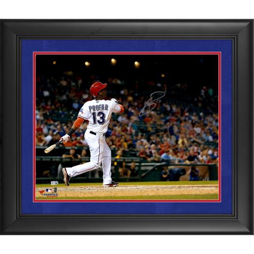 "Photo of Jurickson Profar Texas Rangers Framed Autographed 16"" x 20"" Hitting Photograph - Suede Matting"
