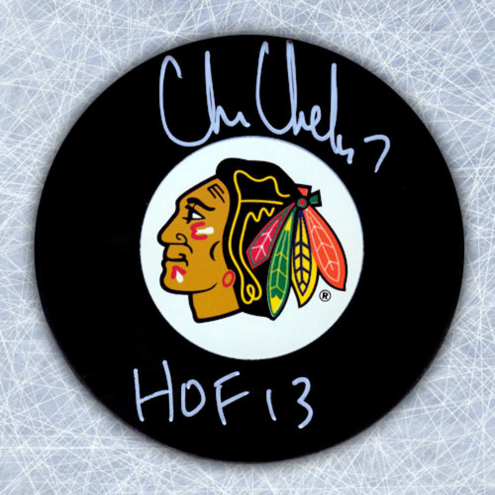 CHRIS CHELIOS Autographed Chicago Blackhawks Hockey Puck w HOF note
