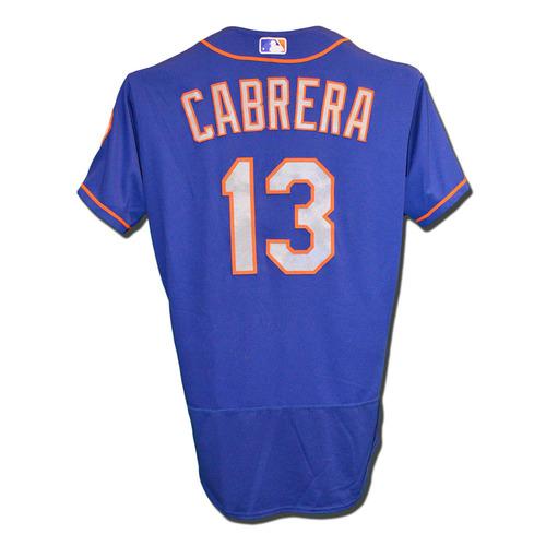 Photo of Asdrubal Cabrera #13 - Game Used Blue Alternate Road Jersey - Cabrera Goes 1-4, R, RBI - Mets vs. Padres - 7/25/17