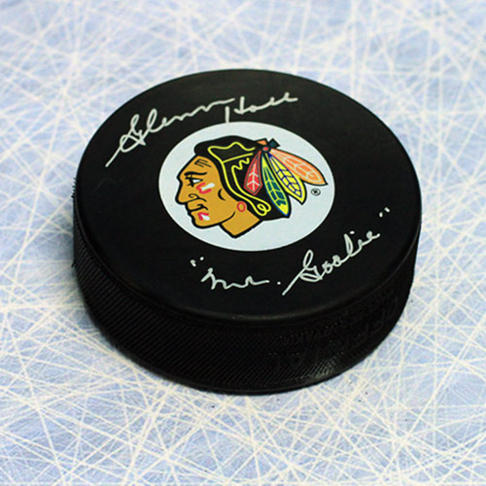 Glenn Hall Chicago Blackhawks Autographed Hockey Puck w Mr Goalie Note