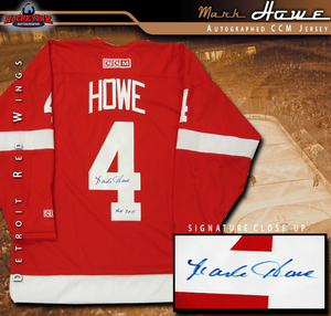 MARK HOWE Signed Detroit Red Wings Red CCM Jersey