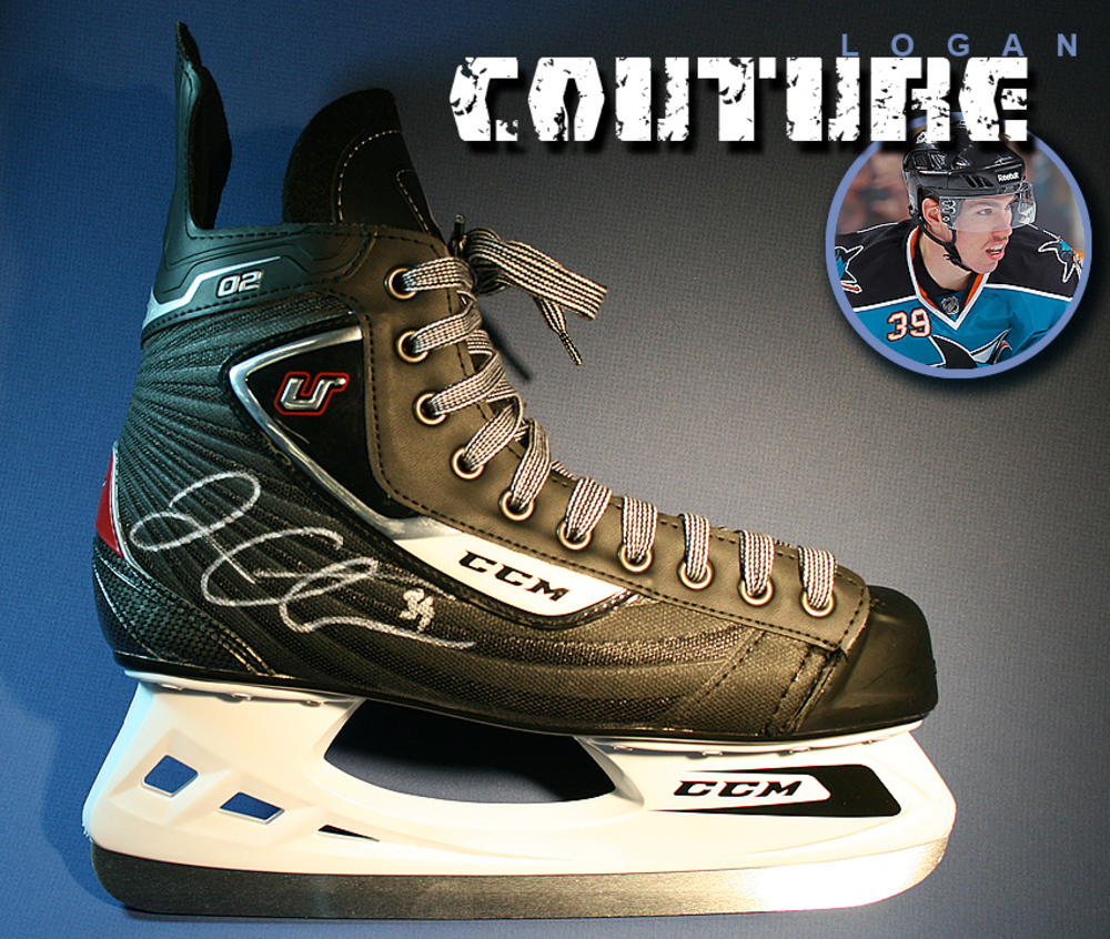 LOGAN COUTURE Signed CCM Skate - San Jose Sharks