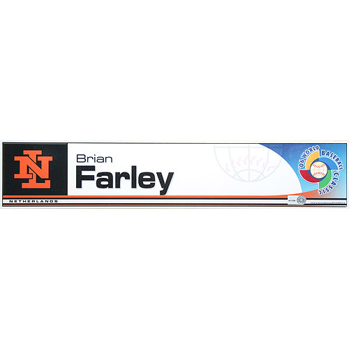 2006 Inaugural World Baseball Classic: Brian Farley Locker Tag (NED) Game-Used Locker Name Plate