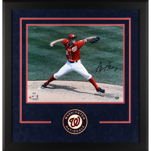 "Photo of Stephen Strasburg Washington Nationals Deluxe Framed Autographed 16"" x 20"" Red Pitching Photograph"