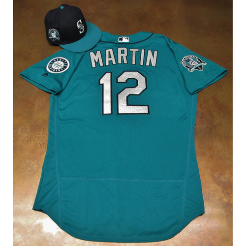 Photo of Leonys Martin Green Game-Used Jersey & Cap With Edgar Martinez Patch Worn 8-11-2017