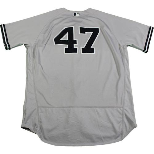 Photo of Jordan Montgomery New York Yankees 2017 Game-Used #47 Grey Jersey (6/15/2017)(Size 48)