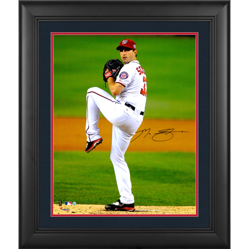 Photo of Max Scherzer Washington Nationals Framed Autographed 16  x 20  Vertical Pitching Photograph