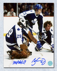Borje Salming & Mike Palmatee Toronto Maple Leafs Dual Signed Action 8x10 Photo