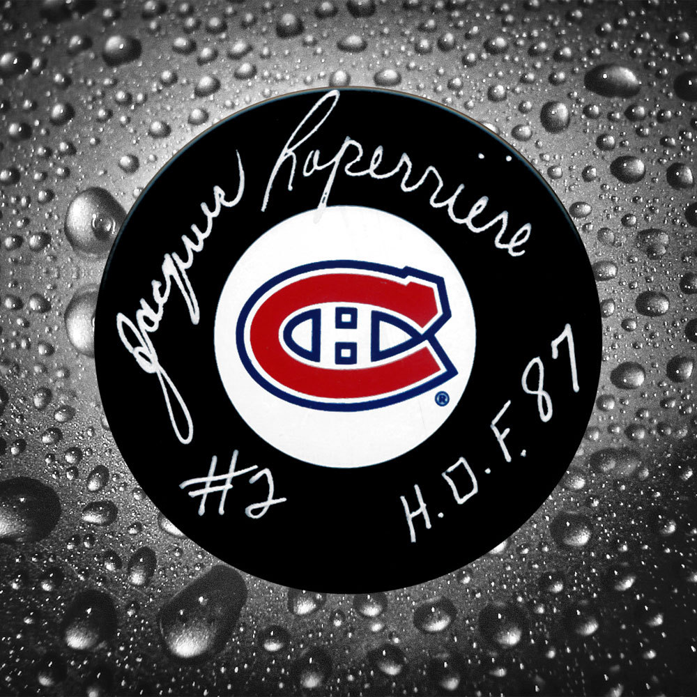 Jacques Laperriere Montreal Canadiens HOF Autographed Puck