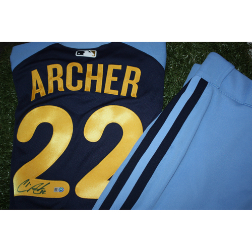 Photo of Chris Archer Game Worn and Autographed Jersey from Turn Back the Clock Night