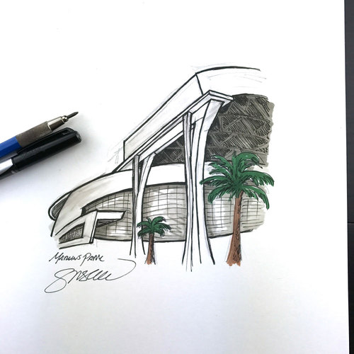 Photo of Daily Sketch - 30 Ballparks in 30 Days: Marlins Park Original Inked Illustration by S. Preston