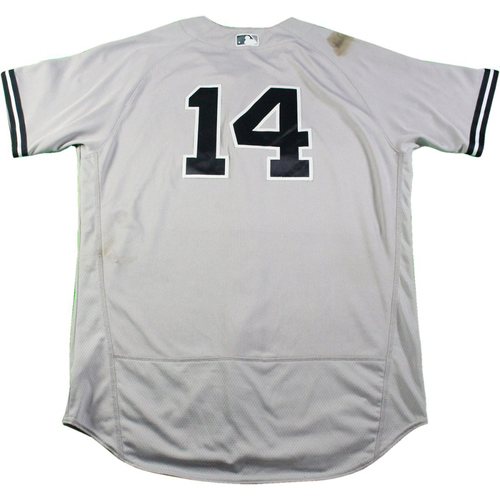 Photo of Starlin Castro New York Yankees Game-Used  #14 Grey Jersey (5/21/2017)(Size 46)
