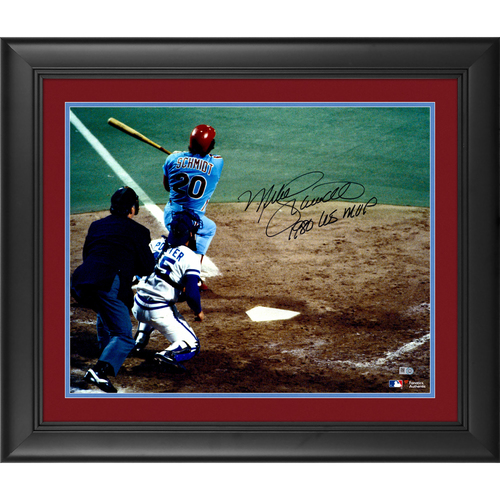 "Photo of Mike Schmidt Philadelphia Phillies Framed Autographed 16"" x 20"" 1980 World Series Home Run Photograph with 1980 WS MVP Inscription"