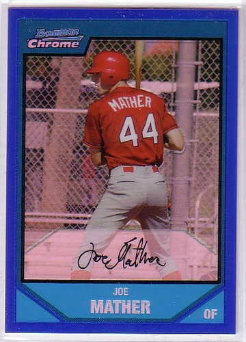 Photo of 2007 Bowman Chrome Prospects Blue Refractors #BC196 Joe Mather