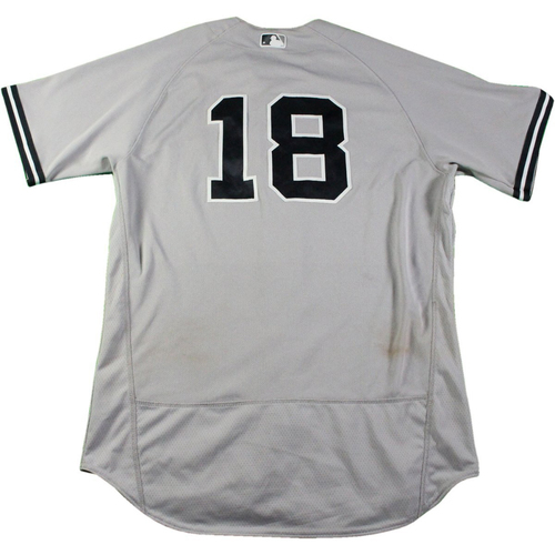 Photo of Didi Gregorius New York Yankees Game-Used  #18 Grey Jersey (5/21/2017) (Size 46)