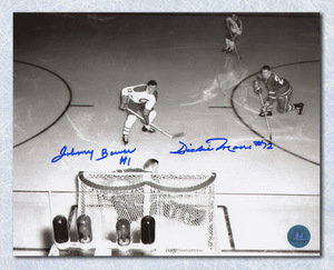 Johnny Bower Toronto Maple Leafs vs Dickie Moore Montreal Canadiesn Dual Signed Legends Showdown Overhead 8x10 Photo