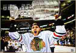 Patrick Kane - Signed & Framed 20x29 Canvas - Raising the Cup 2013