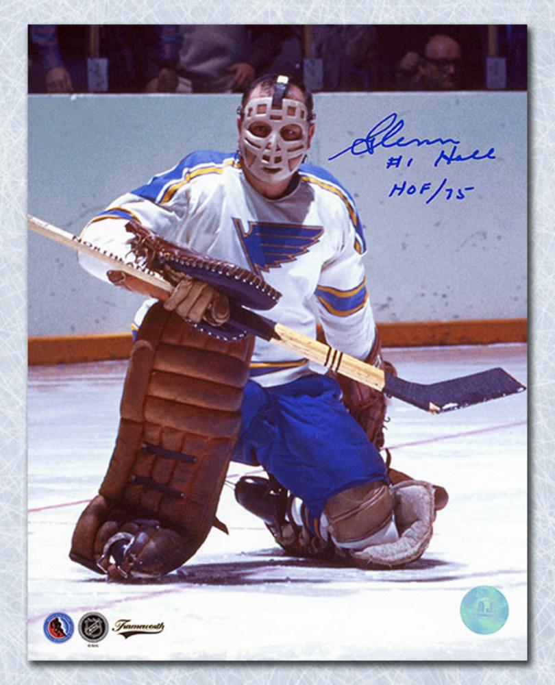 Glenn Hall St. Louis Blues Autographed Goalie Mask 8x10 Photo