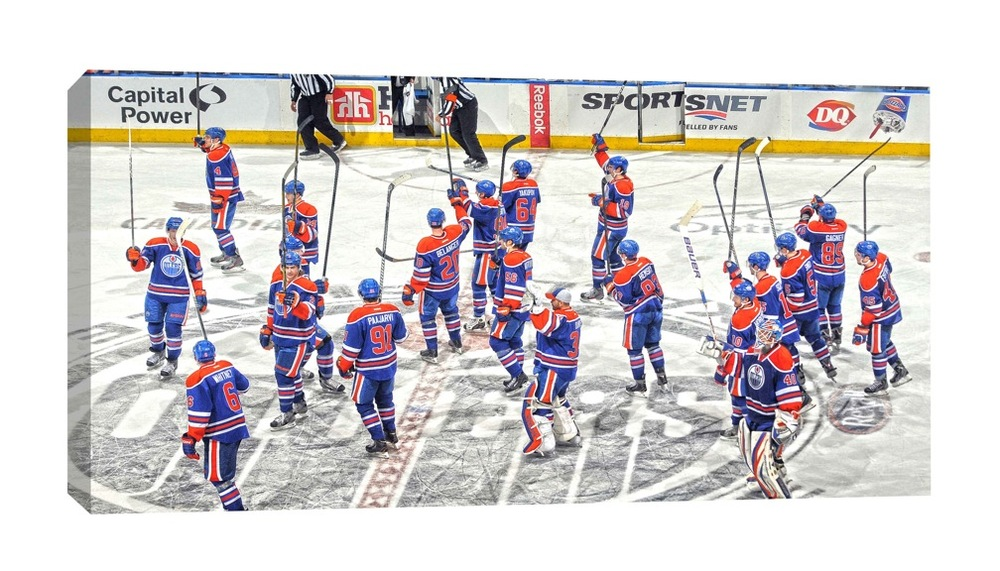 Edmonton Oilers - 14x28 Edmonton Oilers Team Stick Salute Canvas