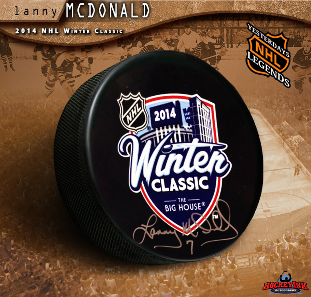 LANNY MCDONALD Signed 2014 NHL Winter Classic Puck