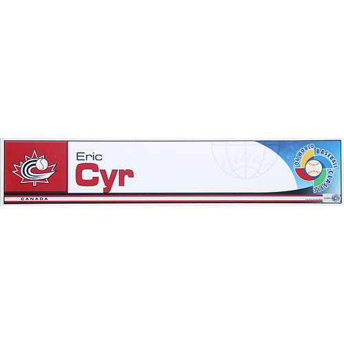 Photo of 2006 Inaugural World Baseball Classic: Eric Cyr Locker Tag (CAN) Game-Used Locker Name Plate