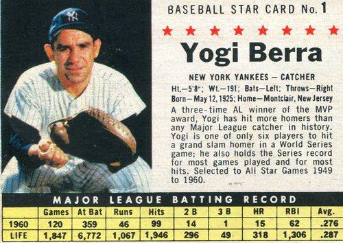 Photo of 1961 Post #1B Yogi Berra
