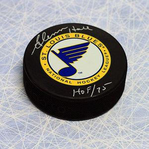 Glenn Hall St. Louis Blues Autographed Hockey Puck w/ HOF year