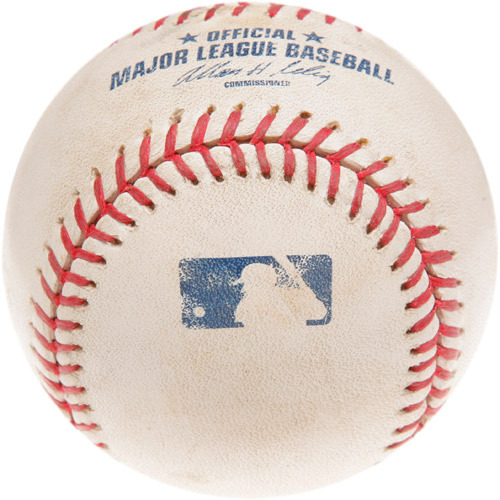 Photo of Game-Used Baseball from Clayton Kershaw Major League Debut Game