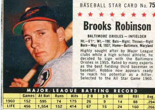 Photo of 1961 Post #75B Brooks Robinson