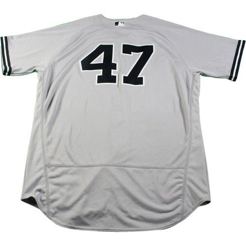 Photo of Jordan Montgomery New York Yankees Game-Used #47 Grey Jersey (5/18/2017) (Size 48)