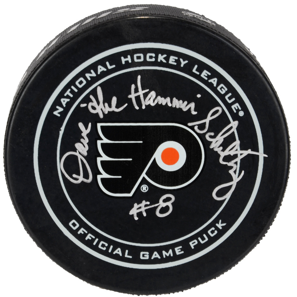 Dave Schultz Philadelphia Flyers Autographed Official Game Puck with The Hammer Inscription