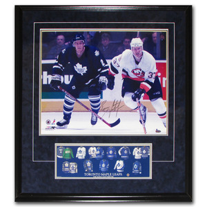 Brian Leetch Autographed Toronto Maple Leafs Framed 16X20 Photo w/Jersey Evolution Plaque