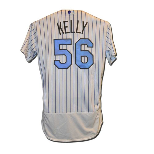 Photo of Ty Kelly #56 - Game Used Father's Day Jersey - Features Blue Ribbon on Chest - Mets vs. Braves - 6/19/16