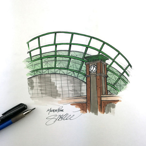 Photo of Daily Sketch - 30 Ballparks in 30 Days: Miller Park Original Inked Illustration by S. Preston