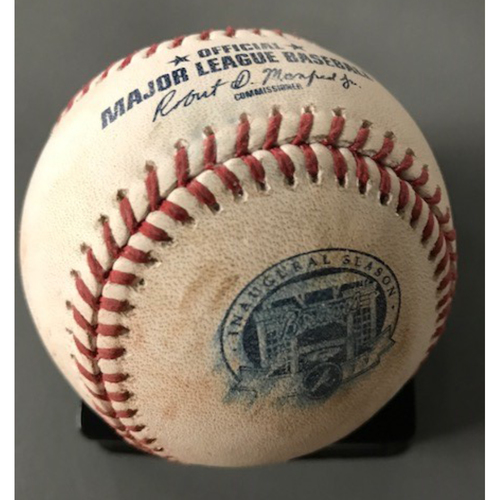 Photo of Chris Taylor Game-Used Hit Single Baseball - August 3, 2017