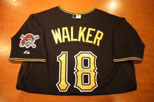 Photo of Neil Walker Game Used and Autographed Black Alternate Jersey