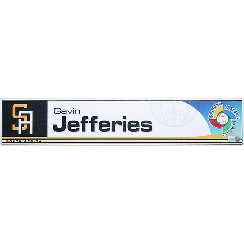 Photo of 2006 Inaugural World Baseball Classic: Gavin Jeffries Locker Tag (RSA) Game-Used Locker Name Plate