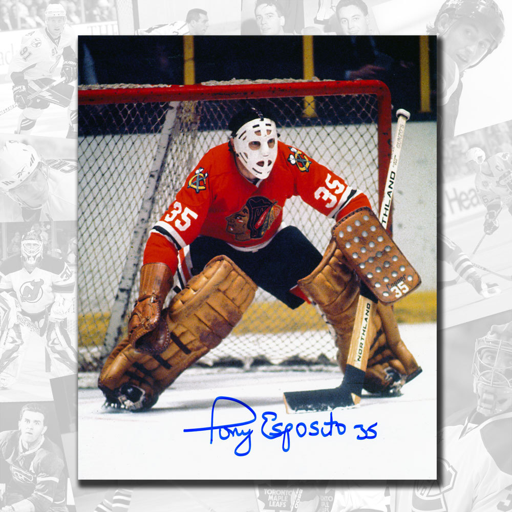 Tony Esposito Chicago Blackhawks Butterfly Style Autographed 8x10