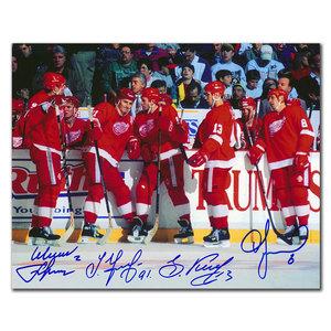 Slava Fetisov, Sergei Fedorov, Slava Kozlov & Igor Larionov Detroit Red Wings Autographed 8x10 RUSSIAN 5