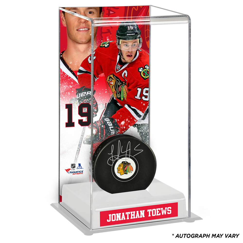 Jonathan Toews Chicago Blackhawks Autographed Puck with Deluxe Tall Hockey Puck Case - Frameworth