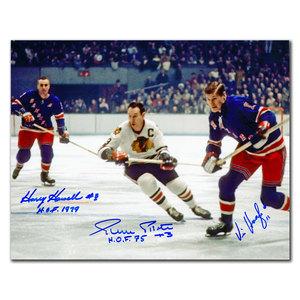 Harry Howell, Pierre Pilote & Vic Hadfield Triple Autographed 8x10