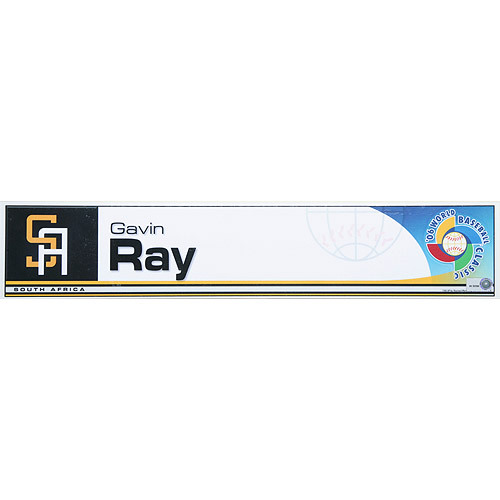 Photo of 2006 Inaugural World Baseball Classic: Gavin Ray Locker Tag (RSA) Game-Used Locker Name Plate