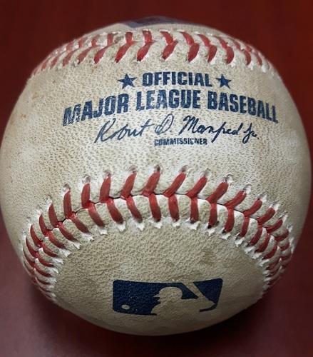 Photo of Game-Used Baseball: Trea Turner Single, 2 Stolen Bases