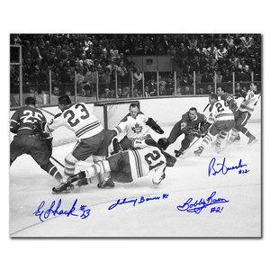 Johnny Bower, Eddie Shack, Bobby Baun & Brian Conacher Toronto Maple Leafs vs. Montreal 1967 Stanley Cup Finals Autographed 11x14