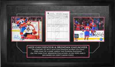 Brendan Gallagher & Alex Galchenyuk - Dual Signed & Framed First Goal & Point Scoresheet