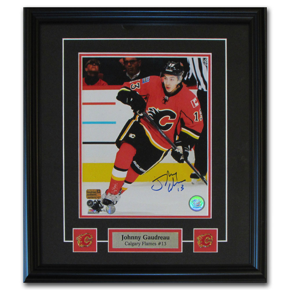 Johnny Gaudreau Autographed Calgary Flames Framed 8X10 Photo