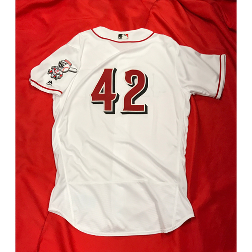 "Photo of Bronson Arroyo -- Team-Issued Jersey -- ""42"" Jersey -- Arroyo's Final Major League Season --  Reds vs. Brewers on April 15, 2017"