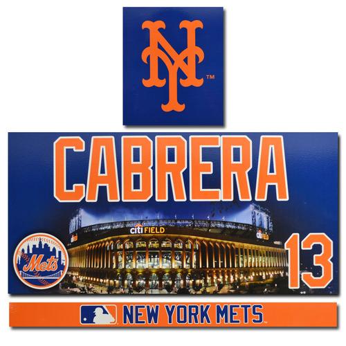 Photo of Asdrubal Cabrera #13 - Game Used Citi Field Locker Nameplate Set - 2017 Season